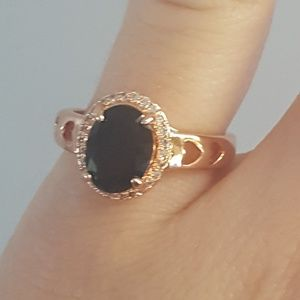 Gold Ring w/ Hearts & Black Jewel